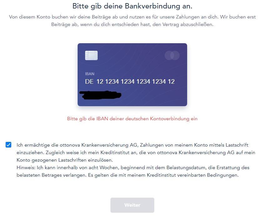 ottonova eingabe bankverbindung 1 - Take out ottonova PKV online