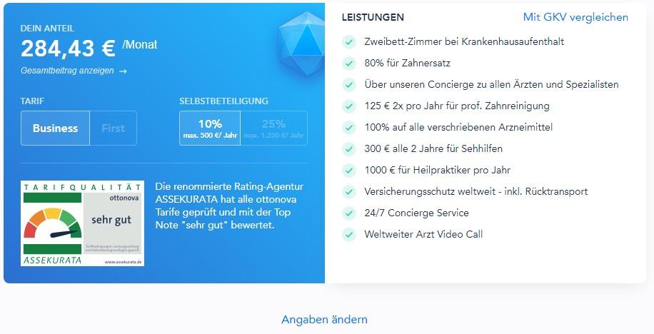 ottonova ergebnis tarif - Take out ottonova PKV online