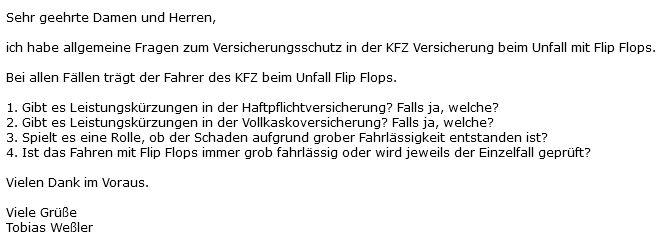 autofahren mit flip flops anfrage an kfz versicherer - Darf man mit Flip Flops Autofahren?